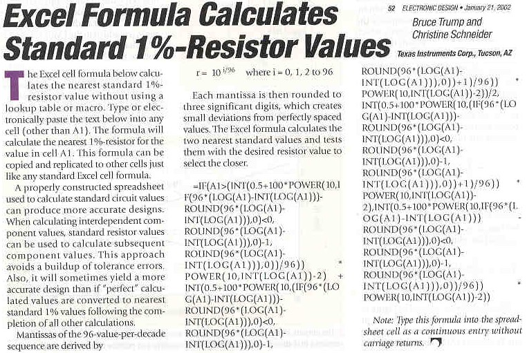 Standard Resistor Values Chart http://www.audioscientific.com/Auto%20Calculators%20&%20References%20Links.htm